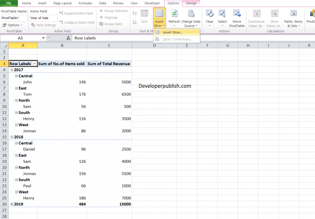 Slicers in Excel Pivot Table