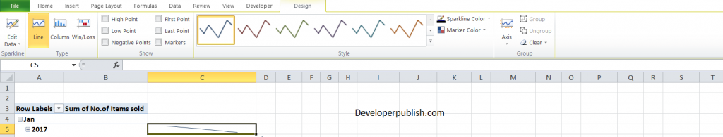 Sparklines with Pivot Tables in Excel