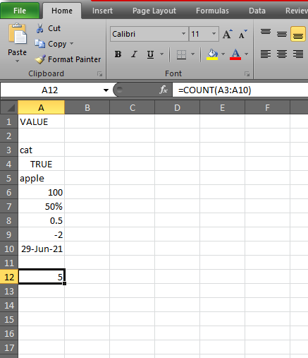 How to use COUNT Function in Excel ?