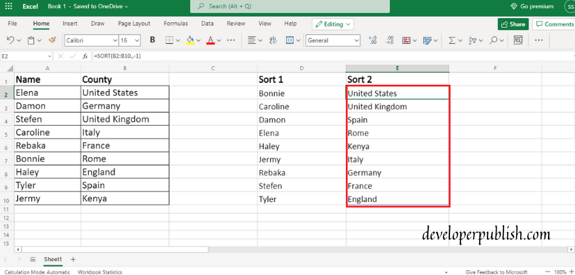 How to use SORT Function In Excel?