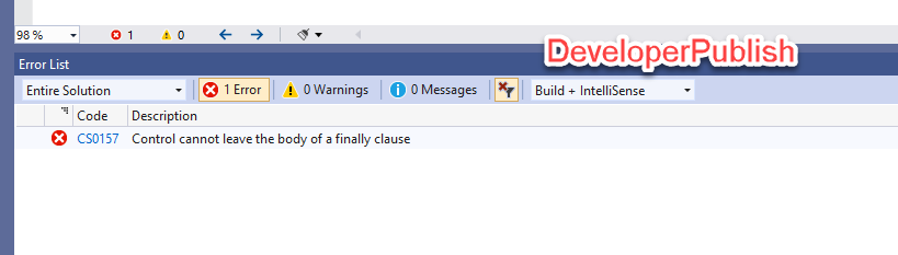 C# Error CS0157 – Control cannot leave the body of a finally clause