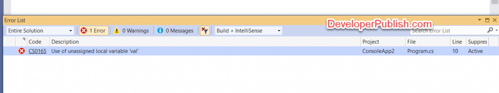 C# Error CS0165 – Use of unassigned local variable 'name'