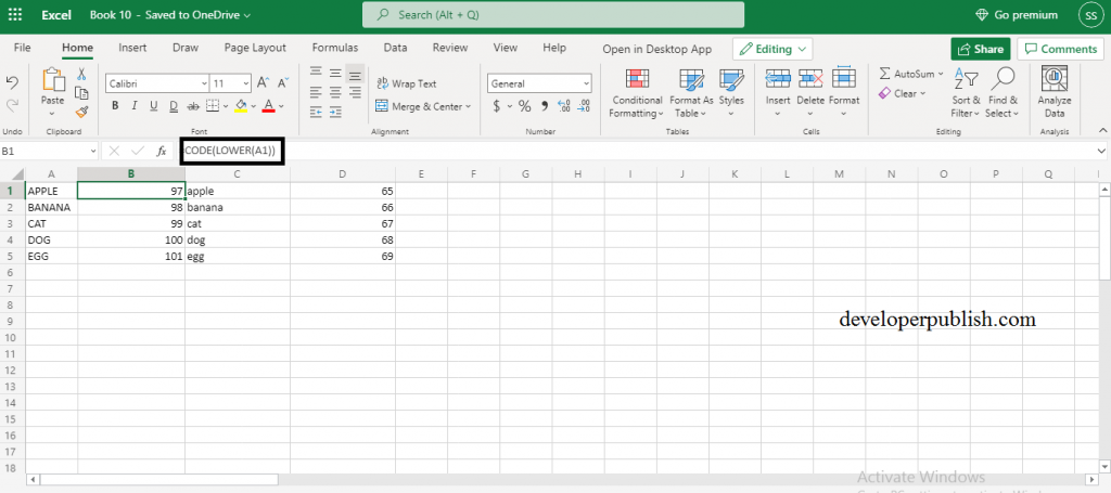 How to use CODE function in Excel?