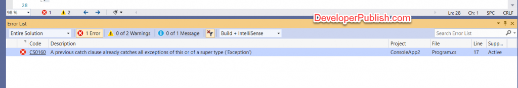 C# Error CS0160 – A previous catch clause already catches all exceptions of this or of a super type ('type')