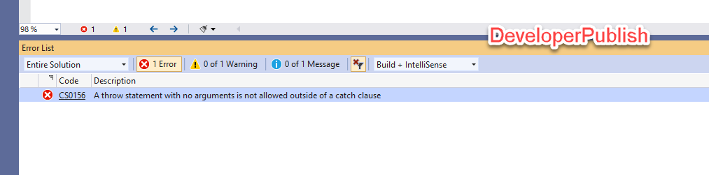 C# Error CS0156 – A throw statement with no arguments is not allowed outside of a catch clause