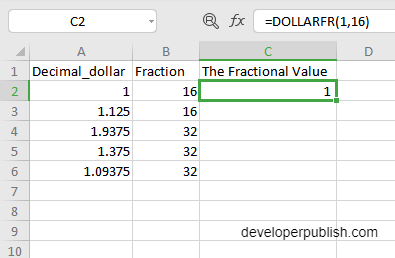 How to use DOLLARFR function in Excel?
