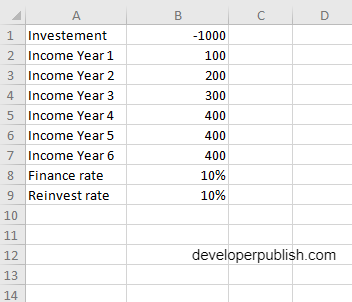 How to use the MIRR function in Excel?