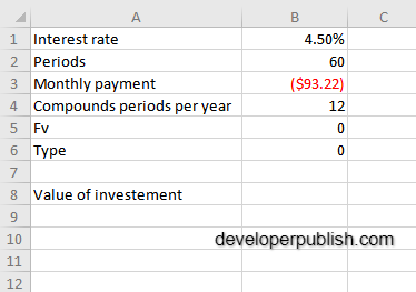 How to use the PV function in Excel?
