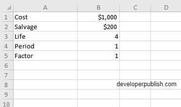 How to use the DDB function in Excel?