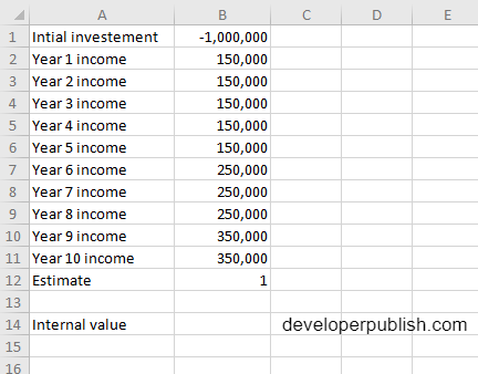 IRR Function in Excel