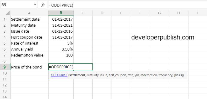 How to use ODDFPRICE function in Excel?
