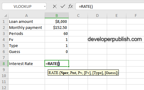 RATE Function in Excel