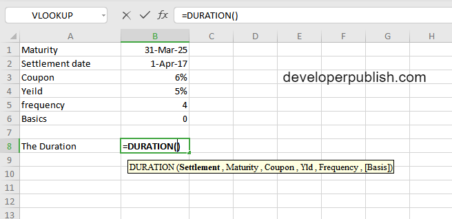 How to use the DURATION function in Excel?