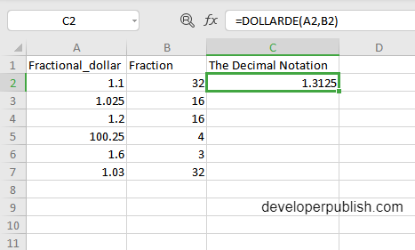 How to use DOLLARDE function in Excel?