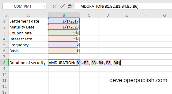 MDURATION Function in Excel