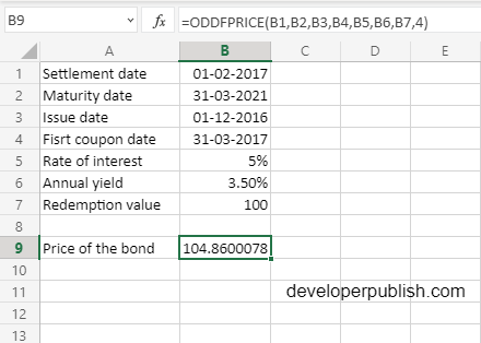 ODDFPRICE Function in Excel