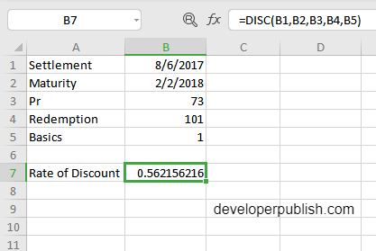 How to use DISC function in Excel?