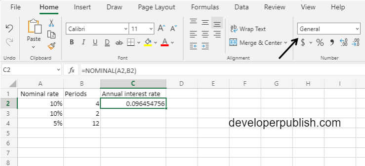 NOMINAL Function in Excel