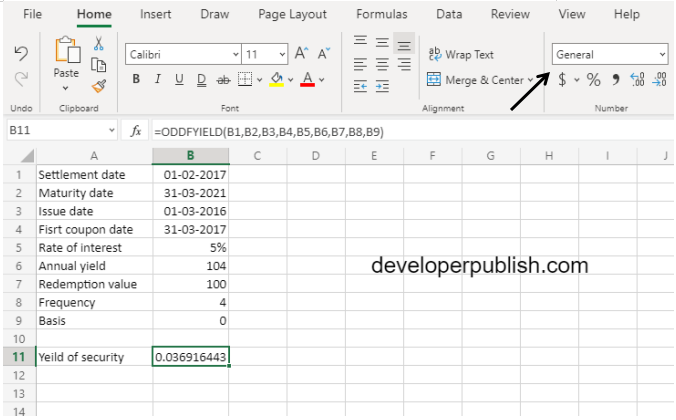 ODDFYIELD Function in Excel