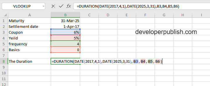 DURATION Function in Excel