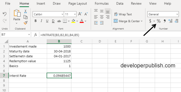 INTRATE Function in Excel