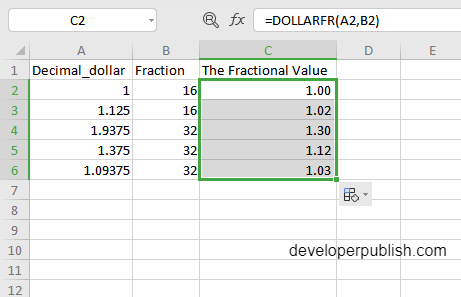 DOLLARFR Function in Excel