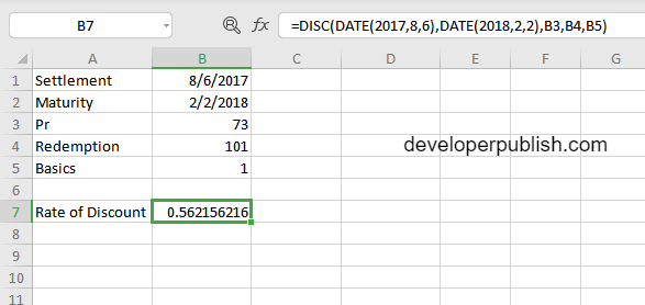 DISC Function in Excel