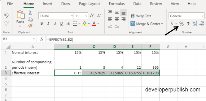 EFFECT Function in Excel