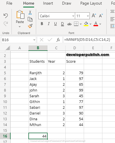 How to use MINIFS Function in Excel ?