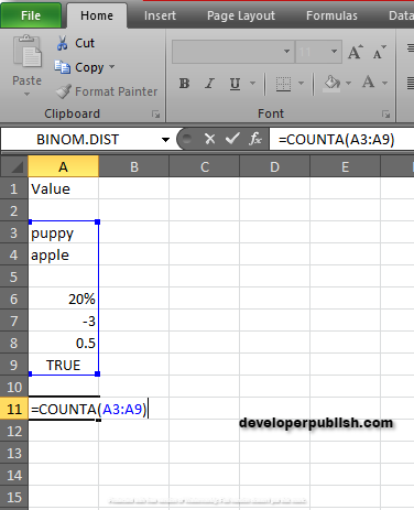 How to use COUNTA Function in Excel?