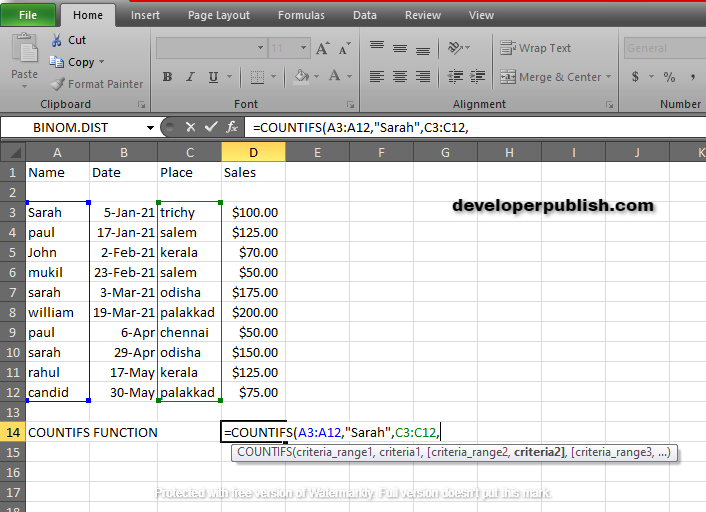 How to use COUNTIFS Function in Excel?