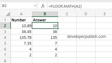 How to use Floor.math function in Excel?