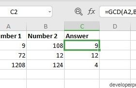 GCD Function in Excel
