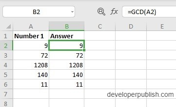 How to use GCD Function in Excel?