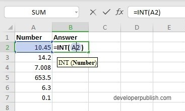 How to use INT Function in Excel?