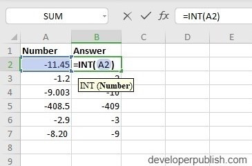 INT Function in Excel