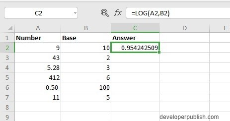 How to use LOG Function in Excel?