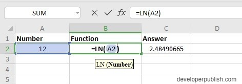 How to use LN Function in Excel?