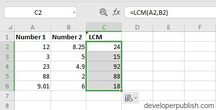 How to use LCM Function in Excel?