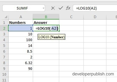 How to use LOG10 Function in Excel?