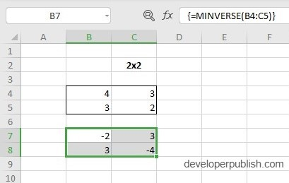 MINVERSE Function in Excel