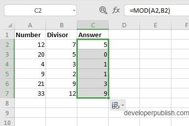MOD Function in Excel