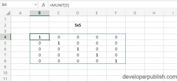 MUNIT Function in Excel