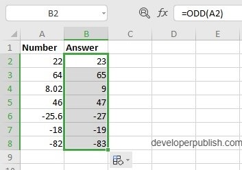 How the ODD Function works in Excel?