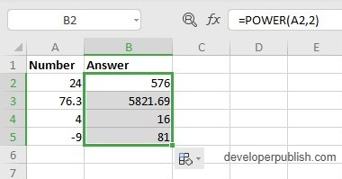 POWER Function in Excel