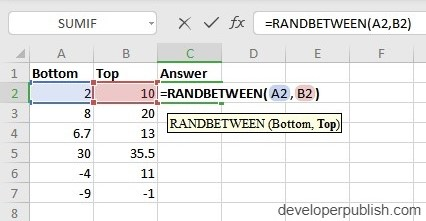 How to use RANDBETWEEN in Excel?