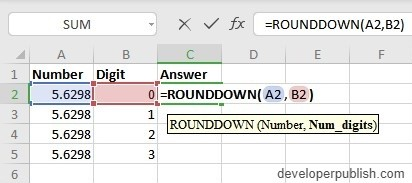 oes the ROUNDDOWN Function work?
