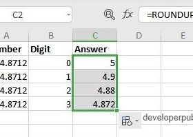 ROUNDUP Function in Excel