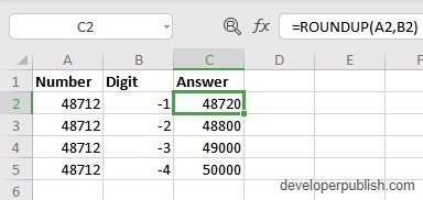 How does the ROUNDUP Function work in Excel?