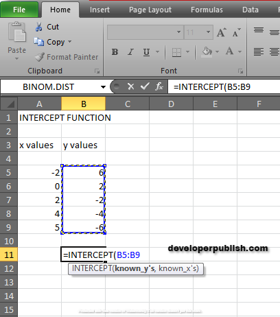 How to use INTERCEPT Function in Excel?